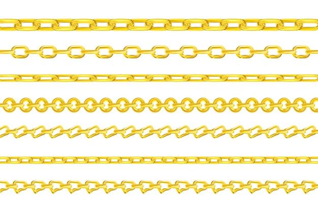 Realistyczne złote łańcuszki wektorowe luksusowe złote ogniwa o różnych kształtach do naszyjnika lub bransoletki