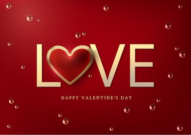 Realistyczne złote metaliczne serca i tekst miłość