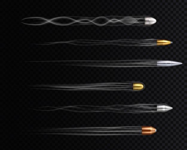 Realistyczne złote, miedziane i srebrne kule latające ze śladami
