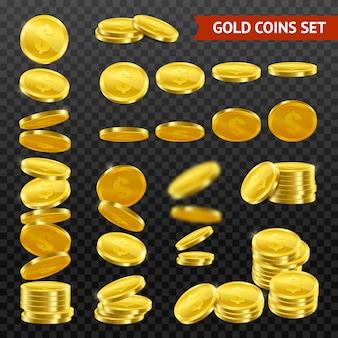Realistyczne złote monety darktransparent set