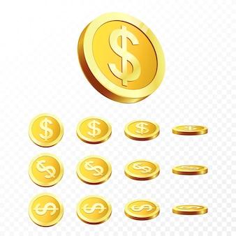 Realistyczne złote monety na przezroczystym tle