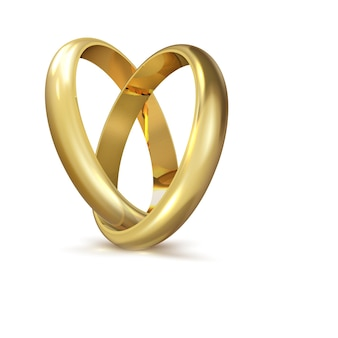 Realistyczne złote obrączki ślubne na białym tle symbol miłości i małżeństwa. realistyczny projekt ślubny. ilustracja wektorowa na białym tle