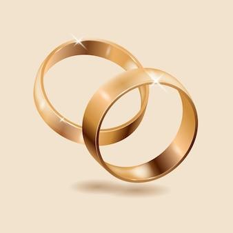 Realistyczne złote obrączki ślubne