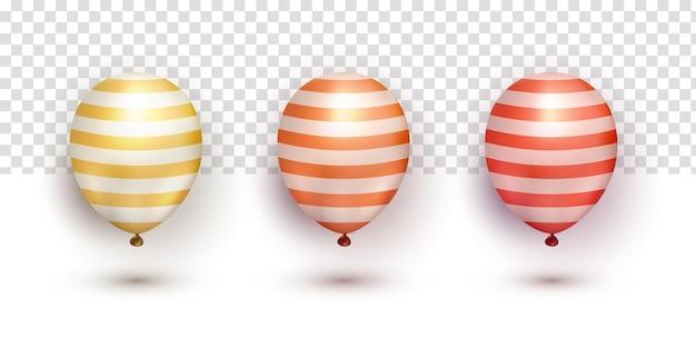 Realistyczne złote pomarańczowo-czerwone chromowane kolekcje eleganckich balonów ustawione na przezroczystym tle