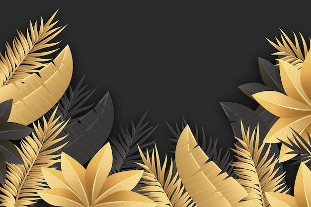 Realistyczne złote tło liści