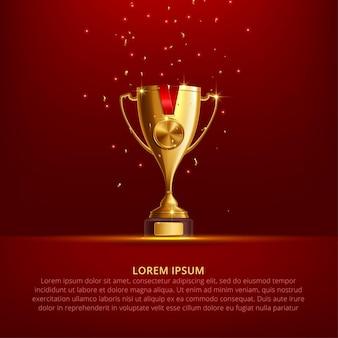 Realistyczne złote trofeum cupon red