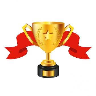 Realistyczne złote trofeum na białym tle ze wstążką