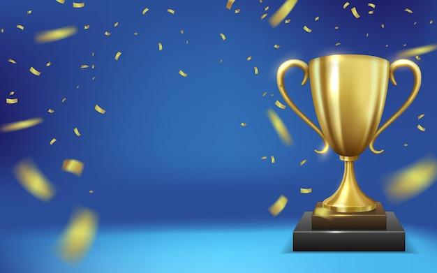 Realistyczne złote trofeum otoczone spadającym konfetti na niebieskim tle vector