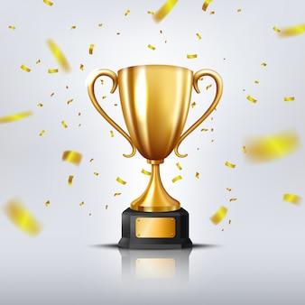 Realistyczne złote trofeum otoczone spadającym konfetti