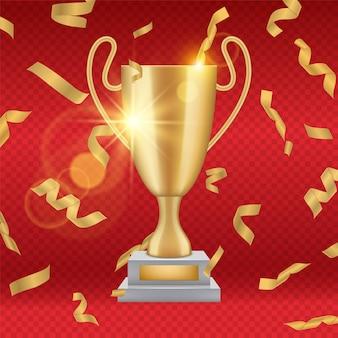 Realistyczne złote trofeum. spadające złote konfetti, ilustracja puchar zdobywcy nagrody. świętowanie mistrzostw, złoty puchar mistrza