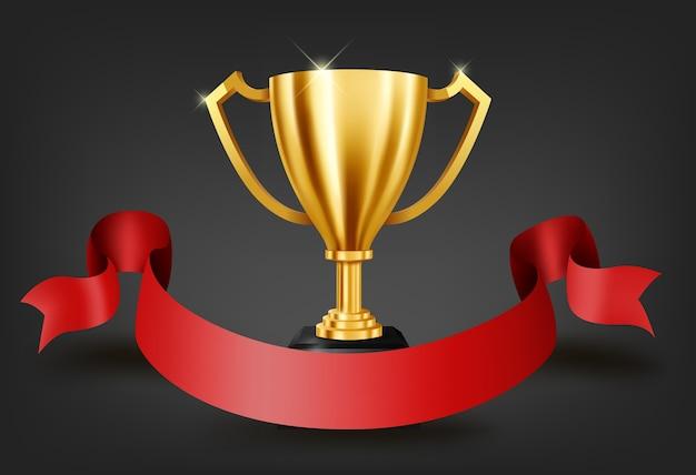 Realistyczne złote trofeum z miejsca na tekst na czerwoną wstążką