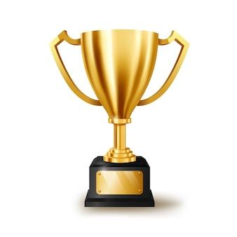 Realistyczne złote trofeum z miejsca na tekst