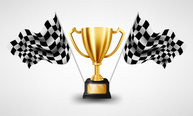Realistyczne złote trofeum z wyścigi w szachownicę