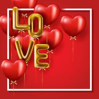 Realistyczne złoto kapie słowo miłość, czerwone balony