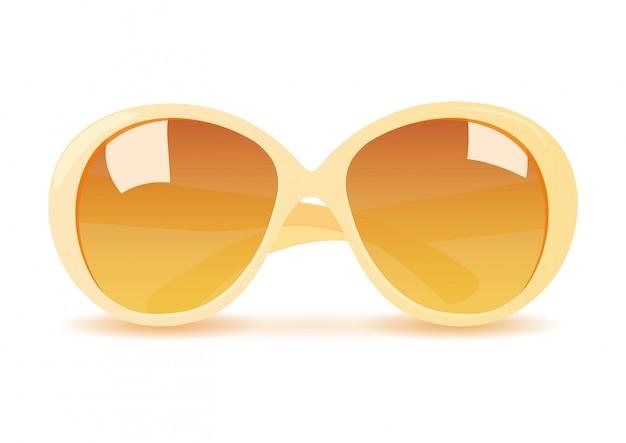 Realistyczne żółte okulary przeciwsłoneczne na białym tle