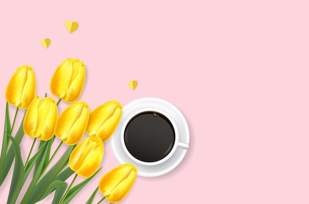 Realistyczne żółte tulipany, prezent i kawa ilustracja