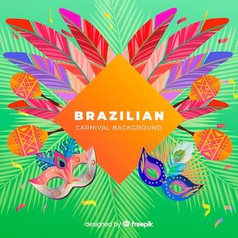 Realistycznego piórka brazylijski karnawałowy tło