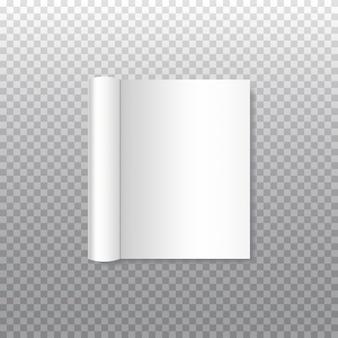 Realistycznej książki z zwiniętą na miękkiej okładce na przezroczystym. otwórz poziomy szablon broszury, broszury, książki, czasopisma, menu lub notatnika.