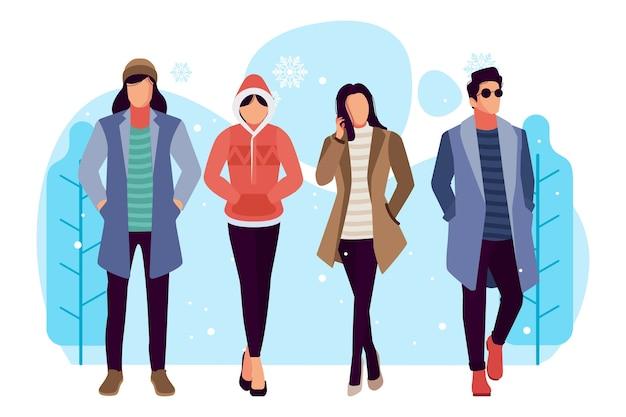 Realistyczni ludzie noszący ubrania zimowe