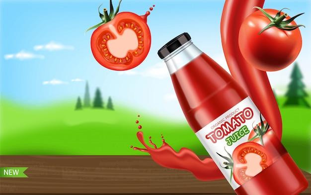 Realistyczni pomidory odizolowywający i pluśnięcie sok, pakują sok butelkę, jarski jedzenie, piękny krajobrazowy tło, ilustracja