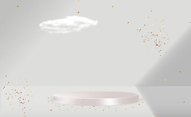 Realistyczny 3d biały cokół na jasnym pastelowym tle naturalnych. modny pusty wyświetlacz na podium do prezentacji produktów kosmetycznych, magazyn o modzie. skopiuj ilustrację wektorową przestrzeni