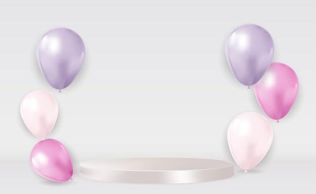 Realistyczny 3d biały cokół nad jasnym pastelowym naturalnym tle z balonami. modny pusty wyświetlacz na podium do prezentacji produktów kosmetycznych, magazyn o modzie. skopiuj ilustrację wektorową przestrzeni