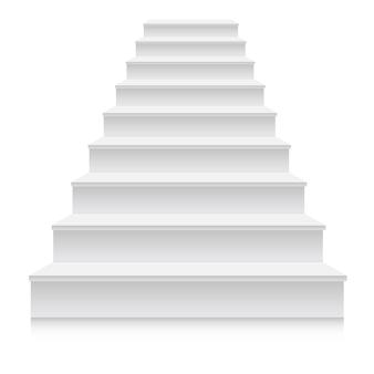 Realistyczny 3d biały schodek