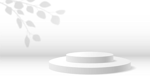 Realistyczny 3d biały wyświetlacz prezentacji produktu na podium z ilustracją wektora cienia liści