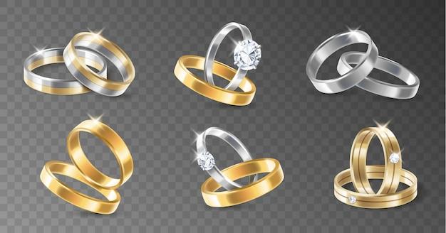 Realistyczny 3d błyszczący zestaw zaręczynowych srebrnych i pozłacanych metalicznych pierścionków. pary pierścieni na przezroczystym tle na białym tle. ilustracja wektorowa