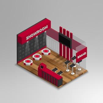 Realistyczny 3d izometryczny wektor salonu