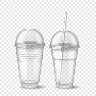Realistyczny 3d pusty przezroczysty plastikowy kubek jednorazowy z kulistą nasadką i izolowaną słomką