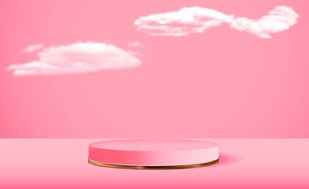 Realistyczny 3d różowy cokół na różowym tle chmur trendy pusty wyświetlacz podium dla magazynu mody prezentacji produktów kosmetycznych