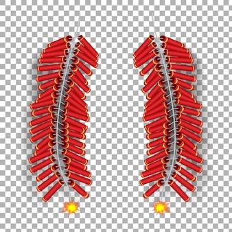 Realistyczny 3d szablon chiński płonący ogień do krakowania.