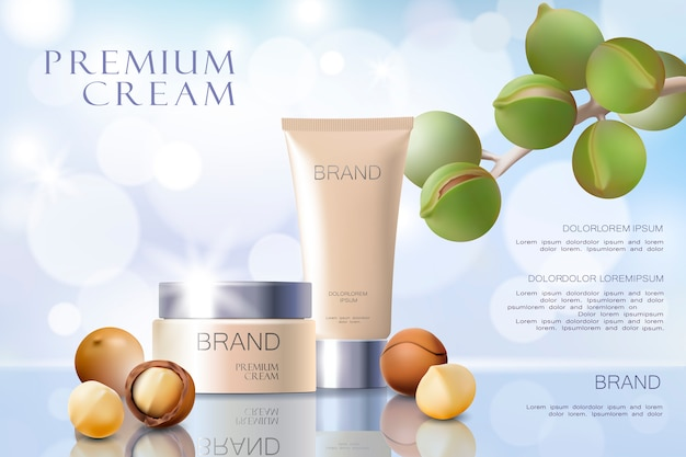 Realistyczny 3d szablon reklamy kosmetycznej oleju orzechowego macadamia.