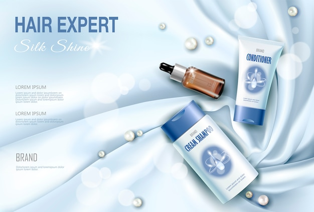 Realistyczny 3d szczegółowy pakiet kosmetyków do pielęgnacji włosów z jedwabiu.