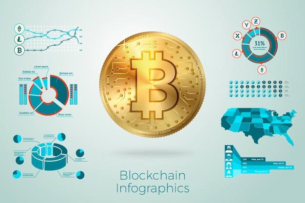 Realistyczny 3d złoty bitcoin z biznesowymi infografikami