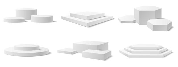 Realistyczny 3d zwycięzca podium na cokole okrągły wyświetlacz scena białe puste filary wektorowe wystawy muzealnej