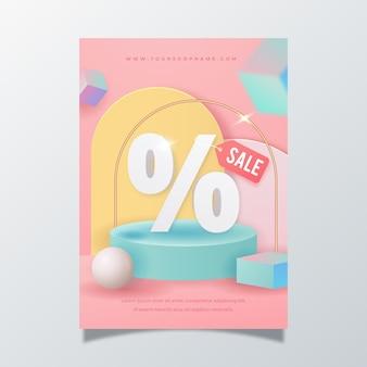 Realistyczny abstrakcyjny szablon plakatu pionowej sprzedaży
