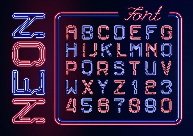 Realistyczny alfabet neon z cyframi neonowymi. skład neon na ciemnym tle.