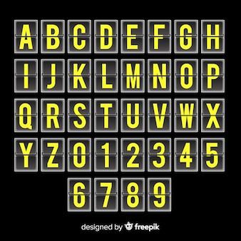 Realistyczny alfabet stylu tablicy wyników