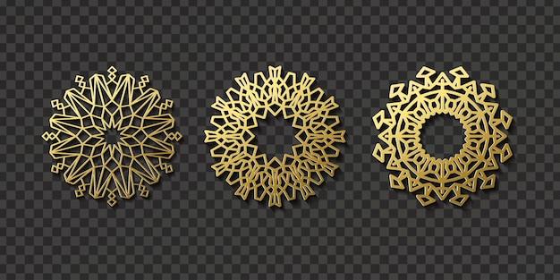 Realistyczny arabski wzór ornamentu do dekoracji i pokrycia na przezroczystym tle. pojęcie motywu i kultury wschodu.