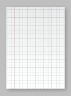 Realistyczny arkusz papieru z podszewką i cieniem. arkusze papieru kwadratowego i podszewkowego z bloku na białym tle na szarym tle