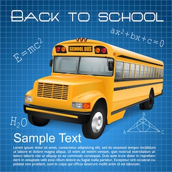 Realistyczny autobus szkolny na niebieskim tle w kratkę z napisami