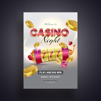 Realistyczny automat do gier z złotą monety ilustracją na popielatych ba