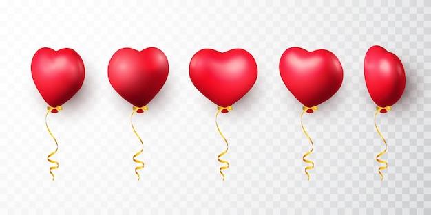 Realistyczny balon serce z cieniem. świeć balon z helem