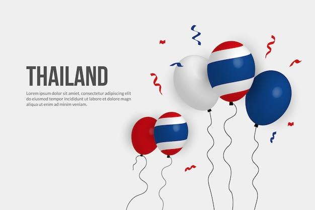 Realistyczny balon tle flagi tajlandii.