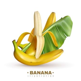 Realistyczny banan z edytowalnym tekstem i realistyczne obrazy owoców bananów ze skórą i liśćmi