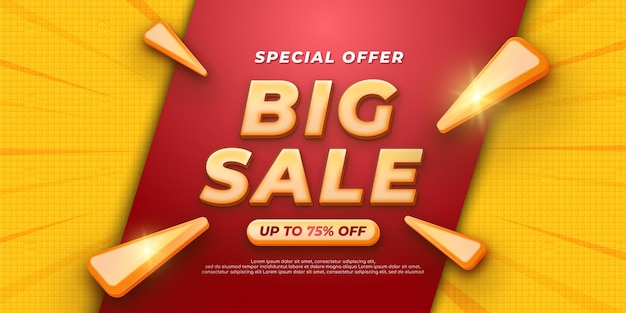 Realistyczny baner 3d specjalna oferta sprzedaży z czerwonym tłem