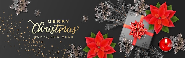 Realistyczny baner bożonarodzeniowy i nowy rok z pudełkiem i świątecznymi kwiatami