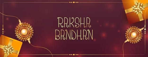 Realistyczny baner festiwalu raksha bandhan z pudełkami prezentowymi i rakhi